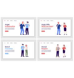 People behavior landing page template set human vector