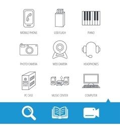 Photo camera headphones and Usb flash icons vector