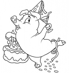 piglet and birthday vector image