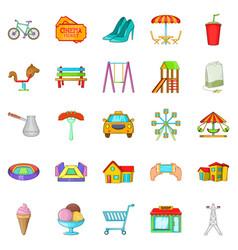 Playground icons set cartoon style vector