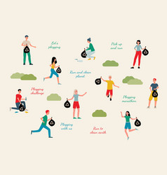 Plogging ecological challenge characters set flat vector