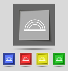 Rainbow icon sign on original five colored buttons vector