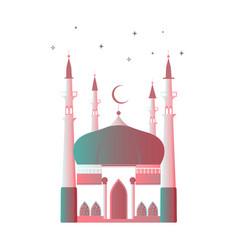 ramadan kareem muslim mosque with a crescent moon vector image