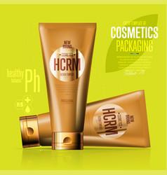 Realistic cosmetic suntan cream golden container vector