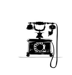 retro phone silhouette sketch for your design vector image