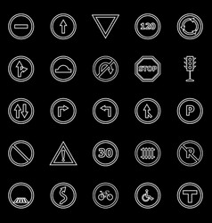 road sign line icons on black background vector image
