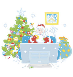 Santa claus watching tv vector