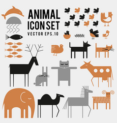 Set animal bird fish icons cute vector