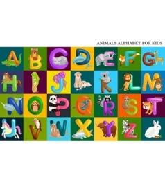 Set animals alphabet for kids letters cartoon vector