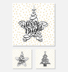Set new year greeting cards lettering design vector