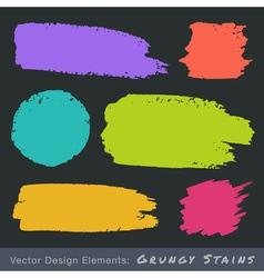 Set of hand drawn flat grunge stains on dark backg vector