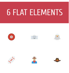 Set of usa icons flat style symbols with cowboy vector