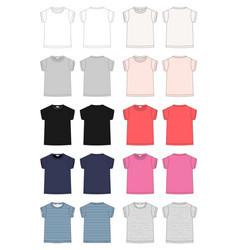 set outline technical sketch children t shirt vector image