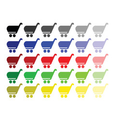 shopping basket set in multiple colors vector image