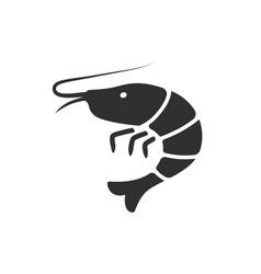 shrimp black icon image vector image