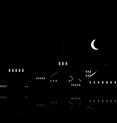 Silhouette of Mosque Against Night Sky with vector image