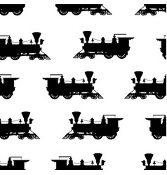 silhouette steam locomotive seamless background vector image