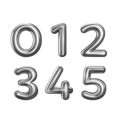 Silver number balloons 0 to 5 vector