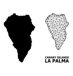 Solid and wire frame map la palma island vector