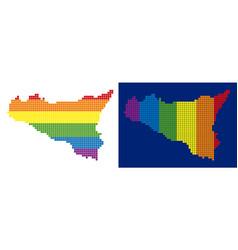 Spectrum pixel dotted sicilia map vector