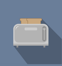 steel toaster with two slices of bread vector image