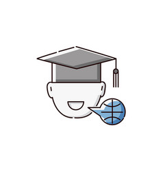 Student in university hat icon for language school vector
