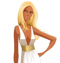 Stylish blond woman vector