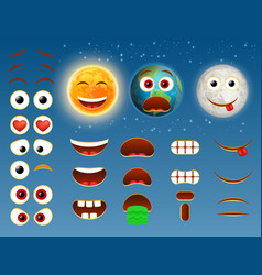 Sun earth moon emoji design collection vector