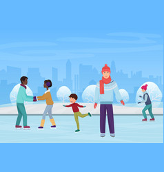 the people skating on an open-air rink in the vector image