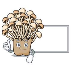 thumbs up with board enoki mushroom character vector image