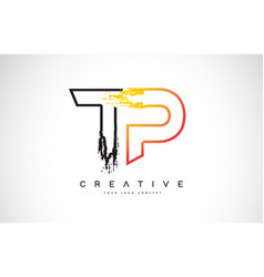Tp creative modern logo design with orange and vector