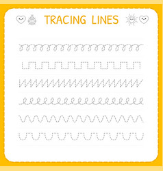 Trace line worksheet for kids basic writing vector