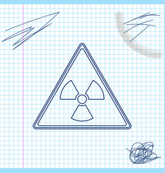 triangle sign with radiation symbol line sketch vector image