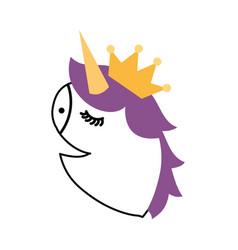 Unicorn head portrait horse magic cartoon fantasy vector