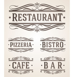 Vintage restaurant and cafe labels and signs vector image