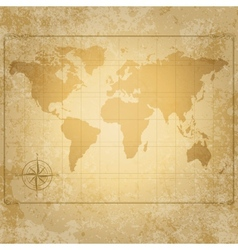 Vintage world map with compass vector