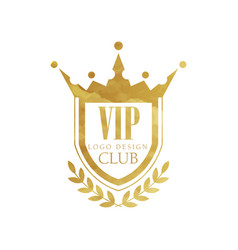 Vip club logo design luxury golden badge for vector