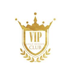vip club logo design luxury golden badge vector image