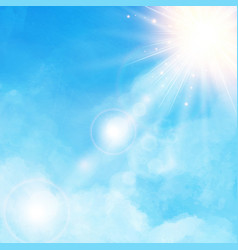 White cloud detail in blue sky with sunshine vector