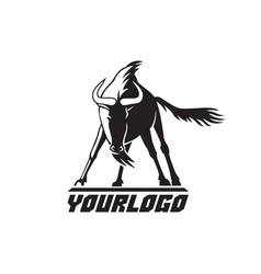 wildebeest logo sign on white vector image