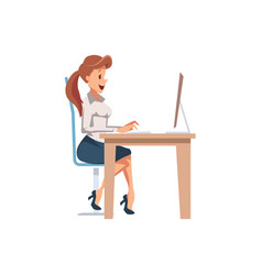 woman is working at table in office vector image