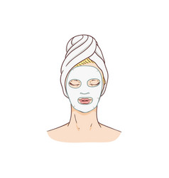 woman with facial mask face skin treatment vector image