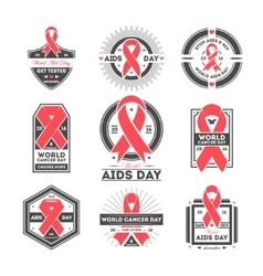 World aids and cancer day label set vector