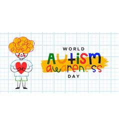 World autism awareness day child love cartoon vector