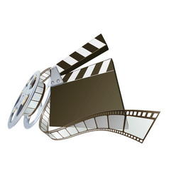 film clapperboard and movie film reel vector image vector image