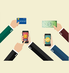 online payment and cashless society concept vector image