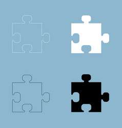 the puzzle the black and white color icon vector image