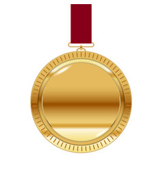 gold medal on red ribbon isolated on white vector image