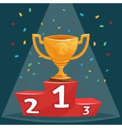 Gold trophy prize cup on podium vector image vector image