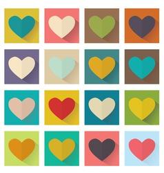 heart flat design set buttons vector image vector image